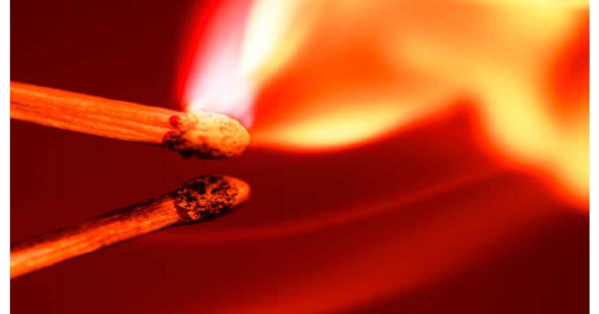 Fiammiferi fuoco combustione